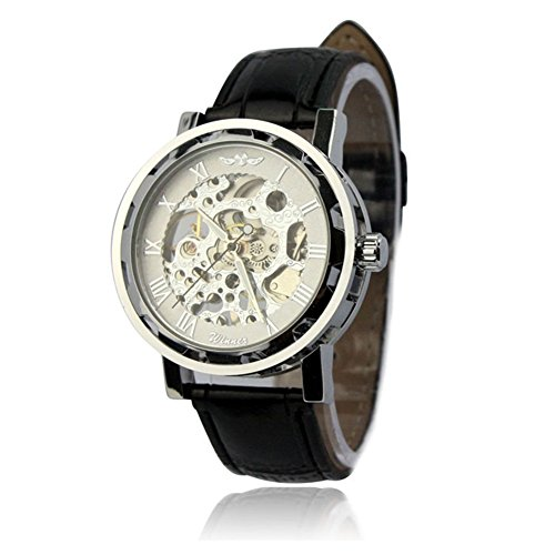 Winhurn Luxury Style Classic PU Leather Skeleton Mechanical Men Wrist Watch (White)