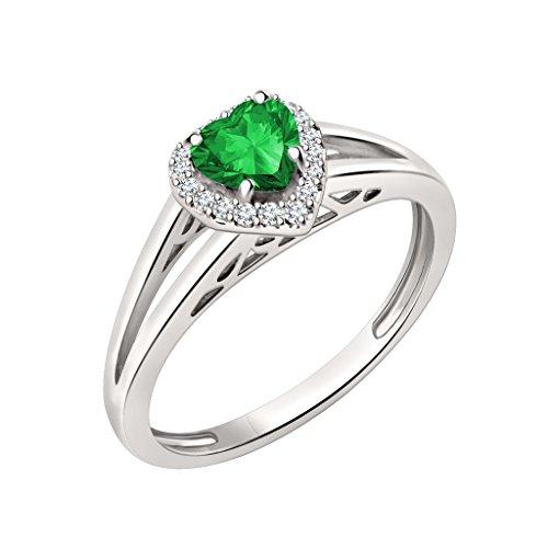 Silvercz Jewels 7mm Heart Cut Emerald & Sim Diamond Halo Engagement Ring In 14K White Gold Over (Emerald Sim Ring)