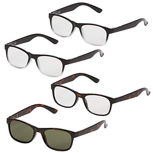 Reading Glasses from 1 Power Readers - 4 Pack for Women & Men with Spring Hinge   Custom Adjusts from .5 - 2.5 (Black/Black/Tortoise, Round)