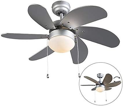 QAZQA Moderno Ventilador gris - FRESH 3 Vidrio/Madera/Acero Redonda Adecuado para LED Max. 4 x 40 Watt: Amazon.es: Iluminación