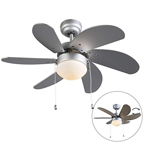 QAZQA Modern Ceiling fan with light Fresh 30 Grey Glass/Wood / / Round Suitable for LED E14 Max. 1 x 60 Watt/Indoor Lighting/Lights / Lamps/Living room/Bedroom / Kitchen