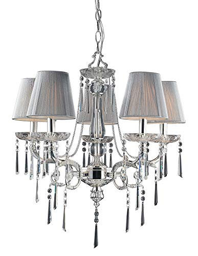 (Elk 2396/5 5-Light Chandelier In Polished Silver and Iced Glass)