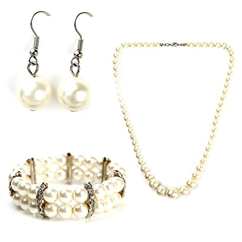 Classic Faux Pearl Set - Graduated Necklace, Drop Earrings and Coordinating Bracelet with Swarovski Style Crystals
