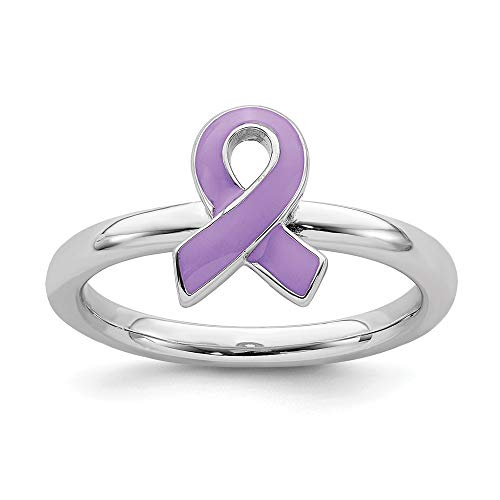 925 Sterling Silver Purple Enameled Awareness Ribbon Band Ring Size 8.00 Stackable Fine Jewelry Gifts For Women For Her