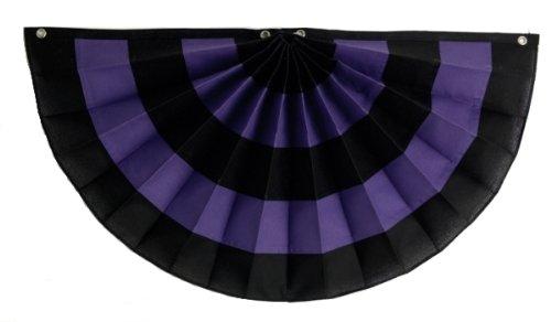 Pleated Fan Bunting (Independence Bunting & Flag 36 by 72-Inch 5-Stripe Nylon Pleated Fan, Black/Purple/Black/Purple/Black)