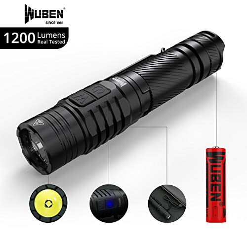 1200 Lumens LED Tactical Flashlight Double Switch Handheld IPX8 Waterproof USB Rechargeable 7 modes LED Torch with 18650 Battery