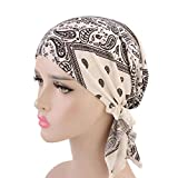 Suma-ma 11Colors Women Retro Country-Ethnic Style Print Indian Hat -Elegant Stretch Scarf Headgear