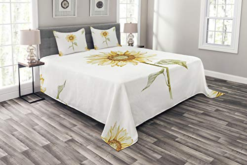 Ambesonne Sunflower Bedspread, Sunflowers with Watercolor Painting Effect and in Minimalistic Design Artwork, Decorative Quilted 3 Piece Coverlet Set with 2 Pillow Shams, Queen Size, Yellow Green