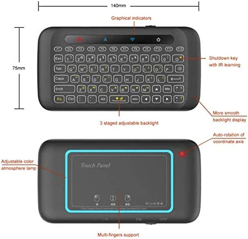 for TV Box 2.4GHz Rechargeable Mouse PC 7-Color Adjustment Computer KJRJP Wireless Mini Keyboard Double-Sided Touch Backlight Keyboard