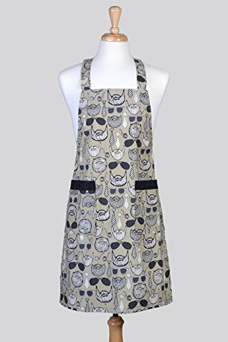 [Mens Beard and Mustache with Glasses Hip Trendy Japanese Crossover Cross Back Chef Kitchen Apron with] (Japanese Beard)
