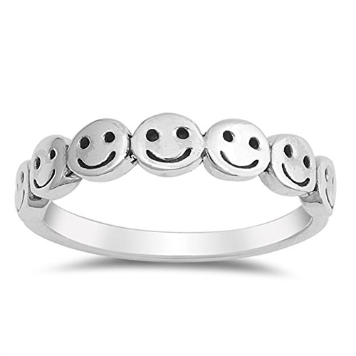 Smiley Faces Christmas - Smiley Face Cute Polished Thumb Ring New .925 Sterling Silver Band Size 9