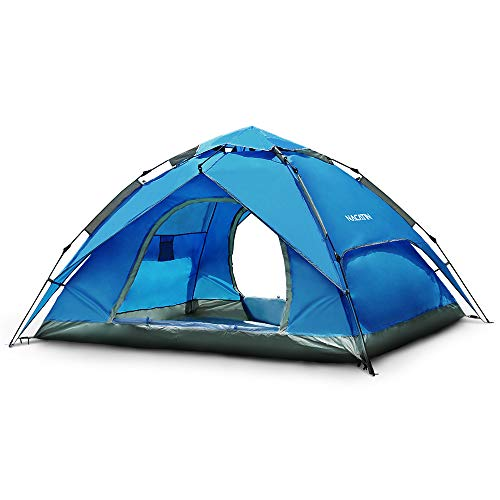 NACATIN 3-4 Person Family Camping Tent,Automatic Instant Pop Up Waterproof PU3000mm 210D Oxford Material Family-Sized Groups Camp Beach Tents, 83x94x57inch,240x210x145cm