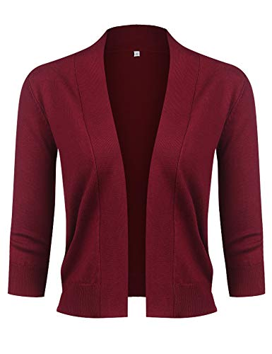 URRU Women's Chic Soft Knit Stretch Bolero Shrug Sweaters with 3/4 Sleeves Wine red L - Cropped 3/4 Sleeve