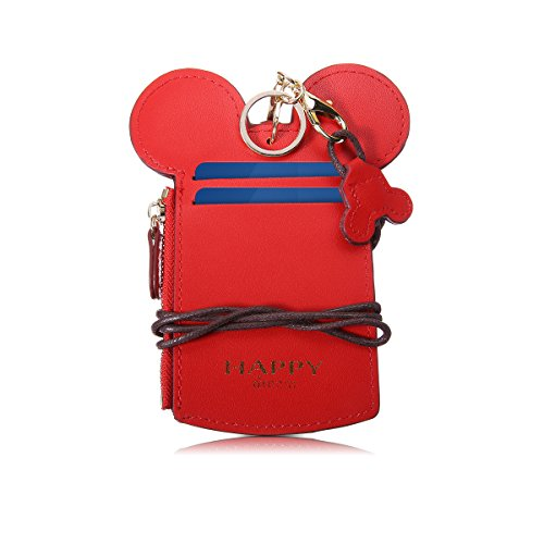 Neck Pouch, CHARMINER Card Holder Wallet, Neck Bag Travel Documents Purse, Cute Animal Shape for Women red