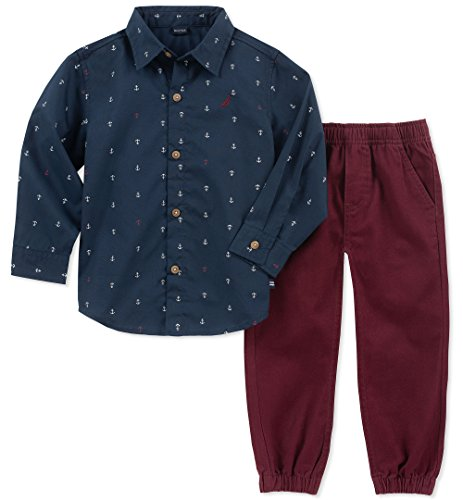 Burgandy Apparel - Nautica Kids and Baby 2 Pieces Shirt Pants, Navy/Burgandy, 24M
