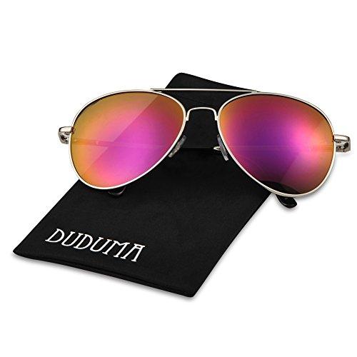 Image of Duduma Premium Full Mirrored Aviator Sunglasses w/ Flash Mirror Lens Uv400 (Silver frame/Pink mirror lens)