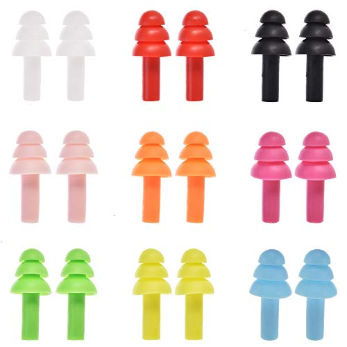 Feeko Ear Plugs, 9 Pair Noise Cancelling Earplugs for Sleeping and Swimming Protection Reusable Ear Plug Set Assorted 9 Colors