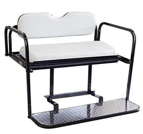 Gtw Steel Rear Flip Seat For EZGO RXV Golf Cart - Oyster/White ()