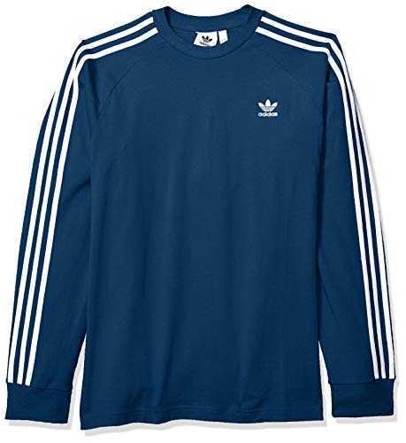 (adidas Originals Men's 3-Stripes Long Sleeve T-Shirt, Legend Marine, Large)