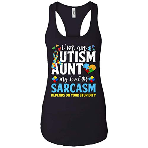 Autism Aweraness Puzzle Piece Tank Top I'm an Autism Aunt My Level of Sarcasm Depends On Stupidity Womens Tank Tops - Puzzle Piece Tank
