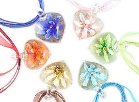 Murano 3D Flower Heart Glass Pendant Necklace 6PCS Mix Color Set - Green Murano Glass Pendant