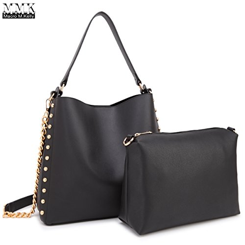 MMK Collection Classic Top Handle Vegan Faux Leather Shoulder Bag~Hobo and Crossbody set For Women~2018 Fall in trend style~Designer handbag - Style Women Fall
