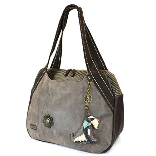 Chala Large Bowling Tote Bag with Animal Charm (Schnauzer - Stone Gray)