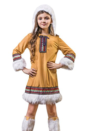 [Kids Girls Eskimo Girl Halloween Costume Alaska Ice Sweetie Dress Up & Role Play (6-8 years, tawny brown,] (Kid Eskimo Costume)