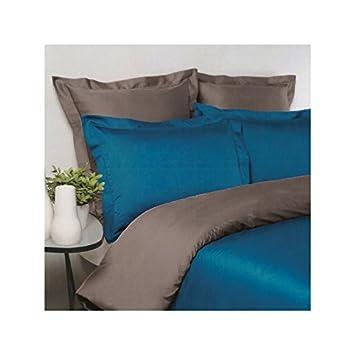 Drap House Housse De Couette Satin 220x240 Couleur Bleu Canard
