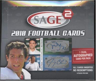 SAGE Squared 2010 Football Hobby Box 8 Packs per Box One Dual Auto per Pack Autograph Gronkowski
