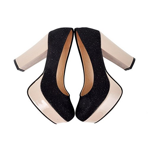 VogueZone009 Womens Closed Round Toe High Heel Platform Chunky Heels Soft Material PU Solid Pumps Black nTbbIcIM