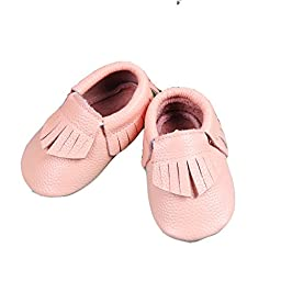Unique Baby Leather Baby Moccasins Anti-Slip Shoes XS (4.5 inches) Peach