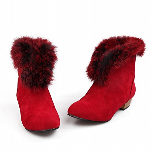 Lucksender Womens Fashion Faux-fur Låg Klack Chunky Vinter Boots Röd