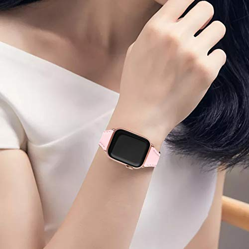 Bestig Leather Band Compatible for Apple Watch 38mm 40mm 42mm 44mm, Slim Thin Genuine Leather Replacement Strap for iWatch Series 5/4/3/2/1 (Pink Band+Rosegold Adapter, 42mm 44mm)