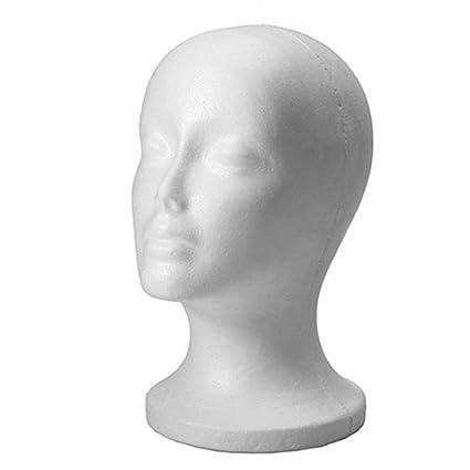 Flybuild Female Styrofoam Foam Mannequin Manikin Head Model Wigs Glasses Display Stand Black