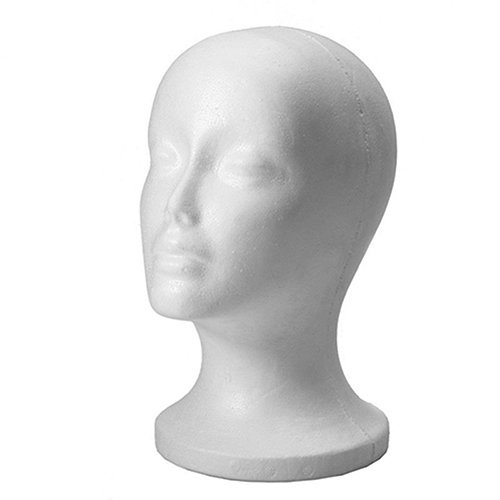 Connoworld Practical Female Styrofoam Foam Mannequin Head Model Professional Bald Manikin Head Mask Hat Wig Hair Jewelry Headset Scarves Glasses Stand Tool Showcase Display Props Holder