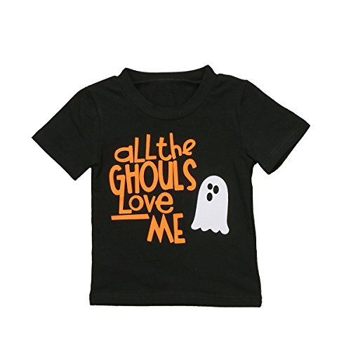 Halloween Shirts For Toddlers - Infants Baby Boys All the Ghouls Love Me Funny Halloween Shirts Outfit Tops (12-24M, Black)