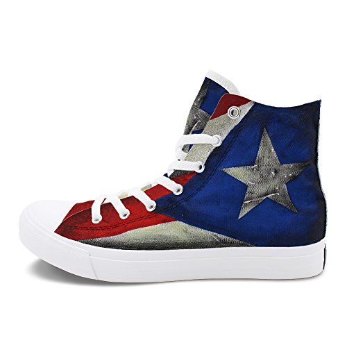 Graffiti Custom Canvas - Wen Fire Unisex Flat Design Puerto Rico Flag Hand Painted Custom Canvas Sneakers