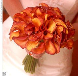 Classic Orange Mini Calla Lily Wedding Bouquet