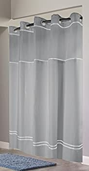 Hookless RBH40MY041 Monterey Shower Curtain -  Grey/White