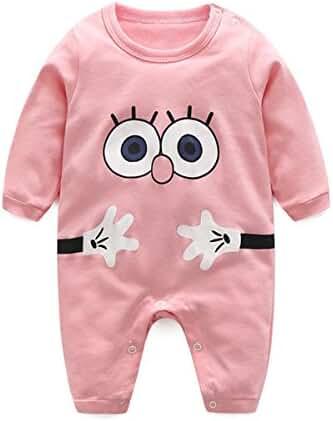 Newborn Boy Girl Big Eyes Print Long Sleeve Button Romper