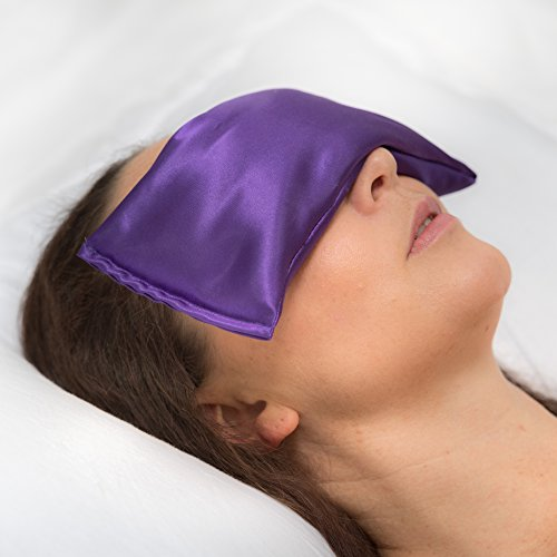 Amethyst Eye Mask Pillow with Lavender and Organic Flaxseed. Hot Or Cold. Soothing and Relaxing. Can Help with Sleep, Headaches & Migraines, Puffy/Dry Eyes and Muscular Pain