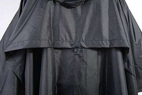 QZUnique Women's Waterproof Packable Rain Jacket Batwing-sleeved Poncho Raincoat Black