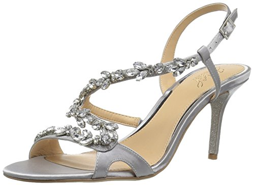 Badgley Mischka Jewel Women's Ganet Heeled Sandal, Silver, 7 Medium US by Badgley Mischka