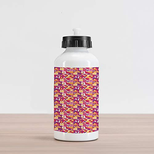 Ambesonne Geometric Aluminum Water Bottle, Contemporary Modern Mosaic Pattern with a Vibrant Color Scheme, Aluminum Insulated Spill-Proof Travel Sports Water Bottle, Pale Orange Magenta Purple