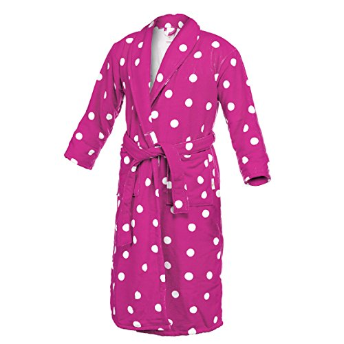 Women's Polka Dot Bathrobe Microfiber Fleece Long Plush Robe