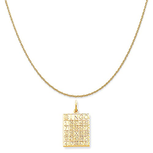 10k Yellow Gold Solid Bingo Card Charm on a 14K Yellow Gold Rope Chain Necklace, (14k Gold Bingo Card Charm)