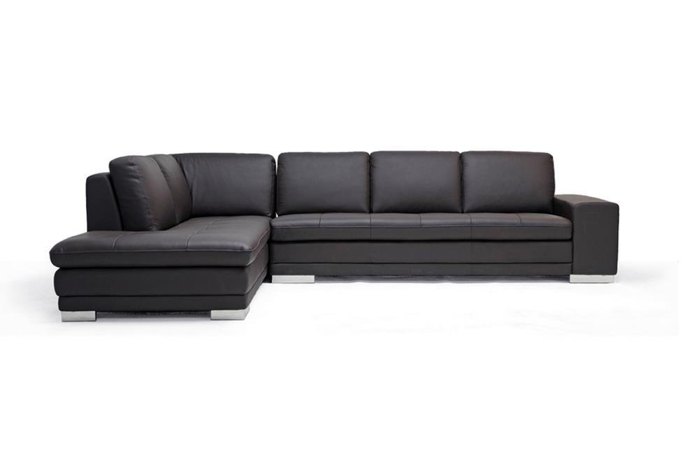 Baxton Studio Callidora Brown Leather Sectional Sofa with Left Facing Chaise