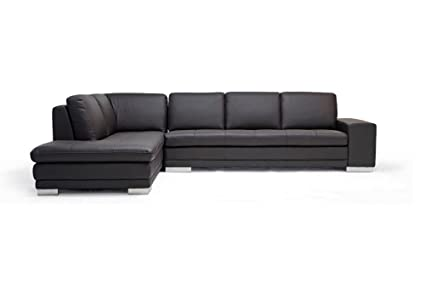 Amazon.com: Baxton Studio Callidora Brown Leather Sectional Sofa ...