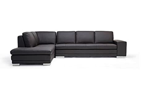 Amazon Baxton Studio Callidora Brown Leather Sectional Sofa